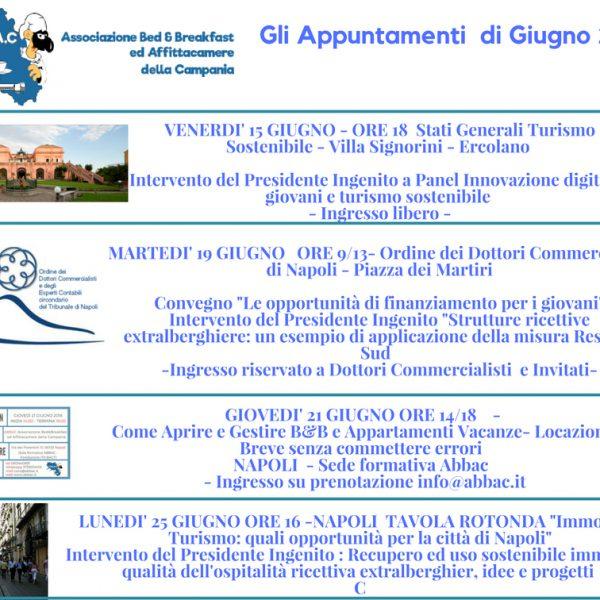 Abbac, ecco tutti gli appuntamenti di giugno. L'associazione coinvolta in convegni e dibattiti su turismo sostenibile, imprenditoria turistica, formazione e qualità ospitalità