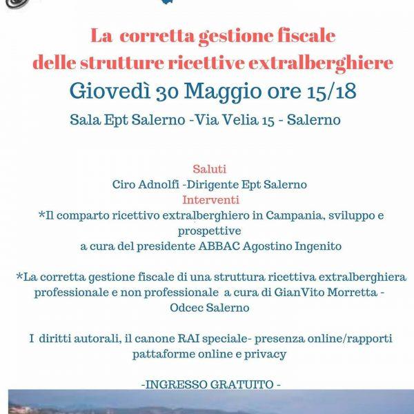 A Salerno, giovedì 30 maggio ore 15 un corso gratuito su corretta gestione b&b e case vacanze