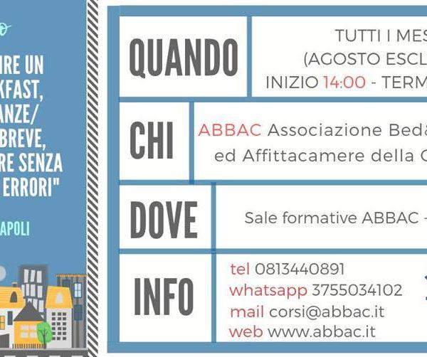 """Abbac, giovedì 26 settembre c'è il corso di """"Come aprire un b&b, casa vacanze senza commettere errori"""", info su come iscriversi"""