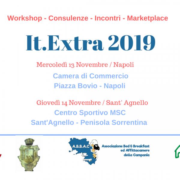 It.Extra2019, a Napoli mercoledì 13 e a Sant'Agnello giovedì 14 novembre, workshop gratuiti per gli operatori ricettivi