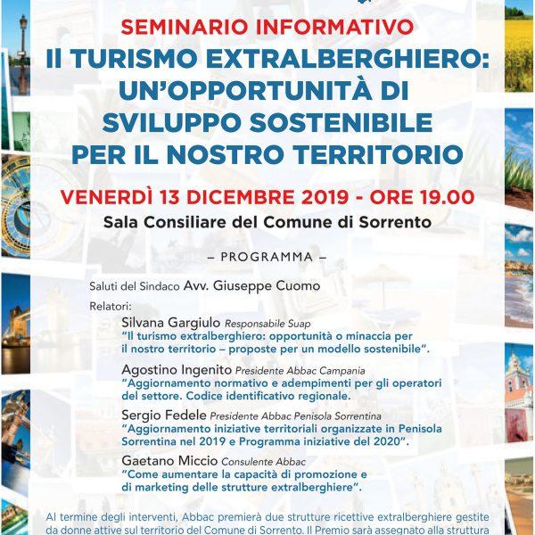 A Sorrento, l'Abbac e il Comune condividono un seminario formativo su extralberghiero e sostenibilità