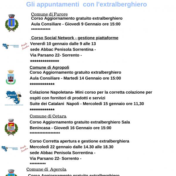 Abbac, ecco tutti gli appuntamenti di gennaio 2020, formazione e opportunità per l'extralberghiero