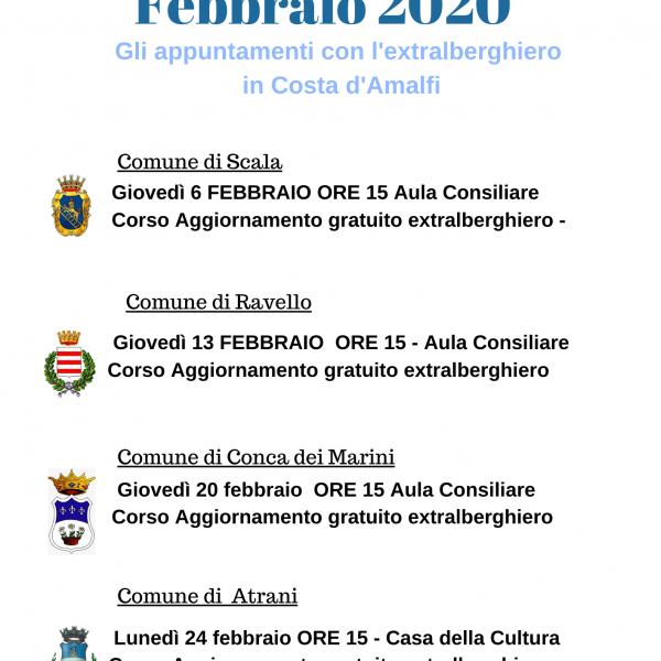 Costiera Amalfitana, formazione extralberghiera a febbraio a Scala, Ravello, Conca dei Marini e Atrani