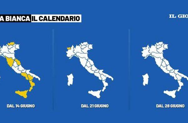 Da lunedì 21 giugno Italia in zona bianca. Dal 1 luglio attivo il Green Pass. Quarantene e tamponi per chi arriva dall'Inghilterra